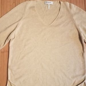 Rodier made in France tan wool v neck sweater med